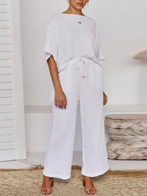 Daily Simple Casual Loose Short Sleeve Top Pants Suit