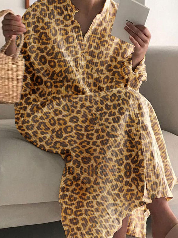 Fashionable Leopard Print Casual Dress