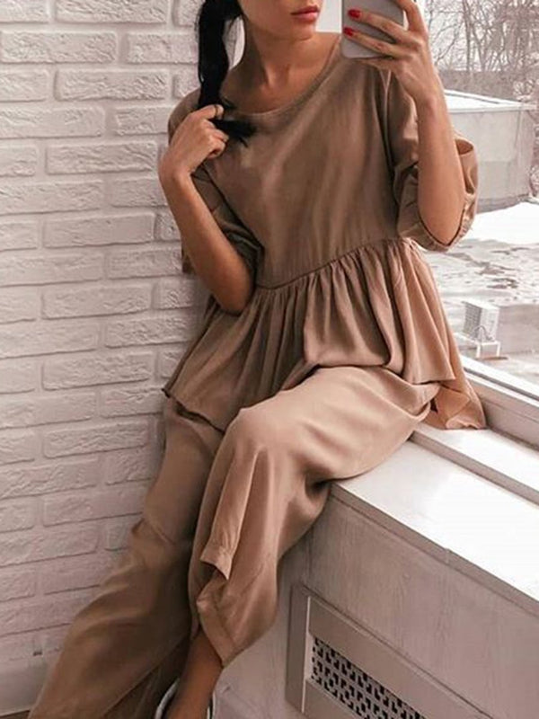 Casual Loose Ruffle Solid Color Two-piece Suit
