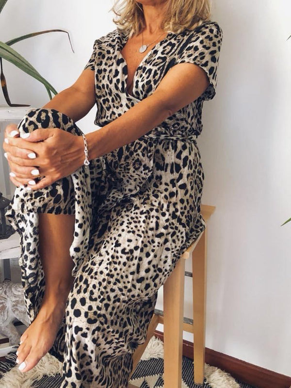Retro Elegant Casual Loose Leopard Dress