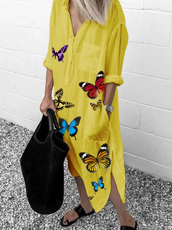 Fashion Butterfly Print Long Sleeve Split Dress