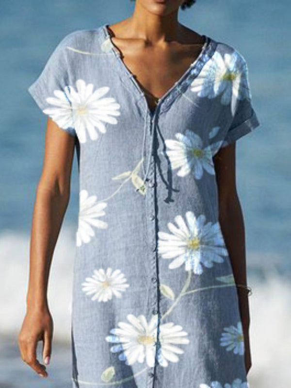 Plus size Floral Printed Casual V Neck Dresses