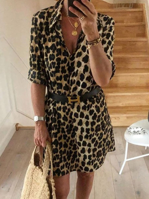 Casual Leopard Print 3/4 Sleeve Casual Dress