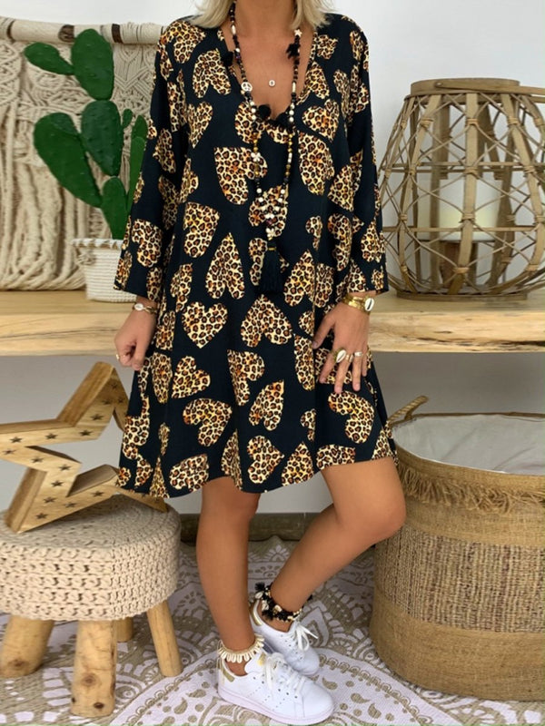 Leopard Print Deep V-Neck Cropped Sleeve Casual Dress