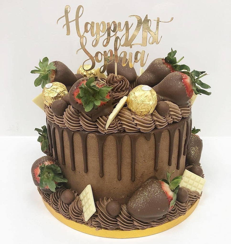 Chocolate & Strawberry Drip Cake