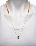 14 Karat Gold Filled Chain with Labradorite Stone Pendant Necklace