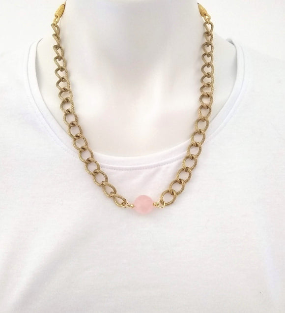 Rose Quartz Sphere Pendant with Gold Plated Chains