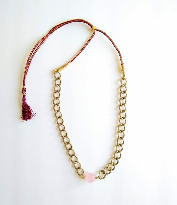 Rose Quartz Sphere Pendant with Gold Plated Chain Necklace