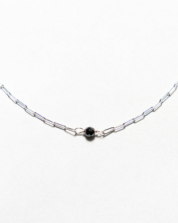 Sterling Silver Chain with Hematite Stone Pendant Necklace