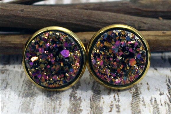 Druzy stud earrings, sparkly jewelry stud earrings, mom gift, wife gift