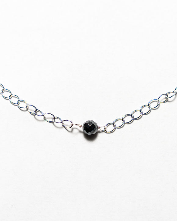 Silver Plated Chain with Hematite Stone Pendant