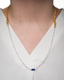 Silver Plated Chain with Lapis Pendant