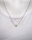 Silver Chain with White Pearl Pendant Necklace