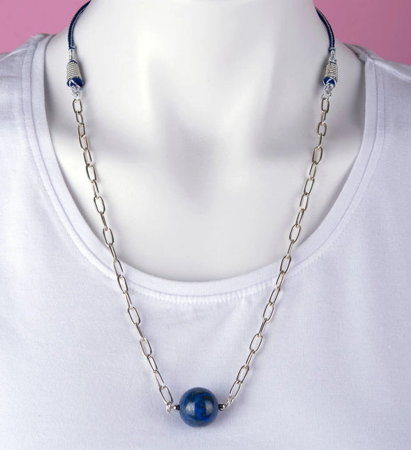 Blue Lapis Stone & Silver Necklace
