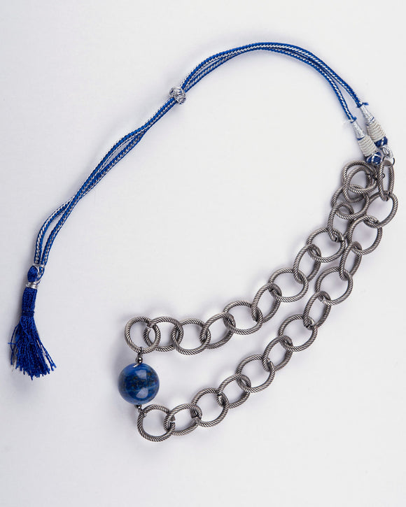 Blue Lapis Stone & Silver Hoop Chain Necklace