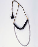Double Layer Black Glass Beads & Silver Chain Necklace