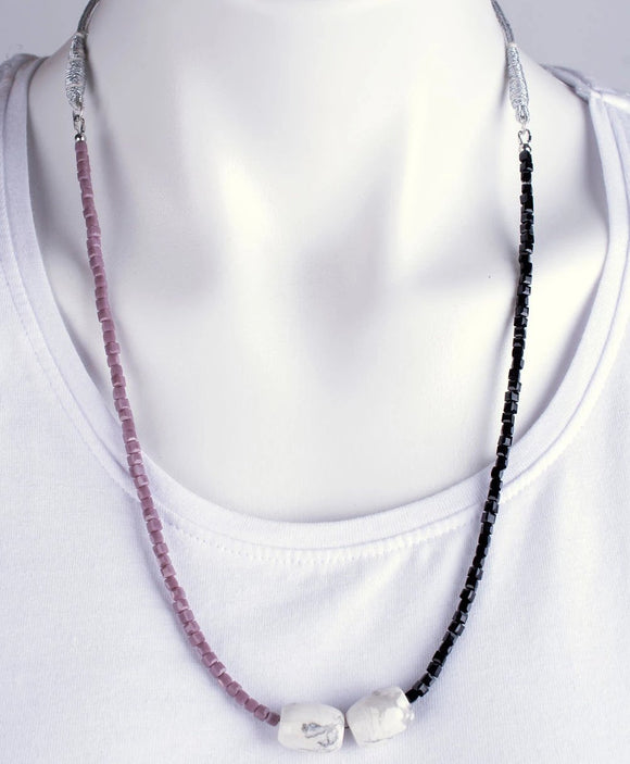 White Howlite Stone & Bead Necklace