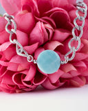 Blue Amazonite Stone & Silver Plated Chain Necklace