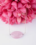 Rose Quartz Stone & Silver Plated Chain Necklace
