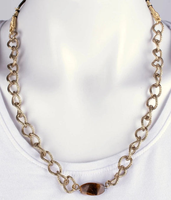 Tiger Eye stone with Gold Plated Chain Necklace