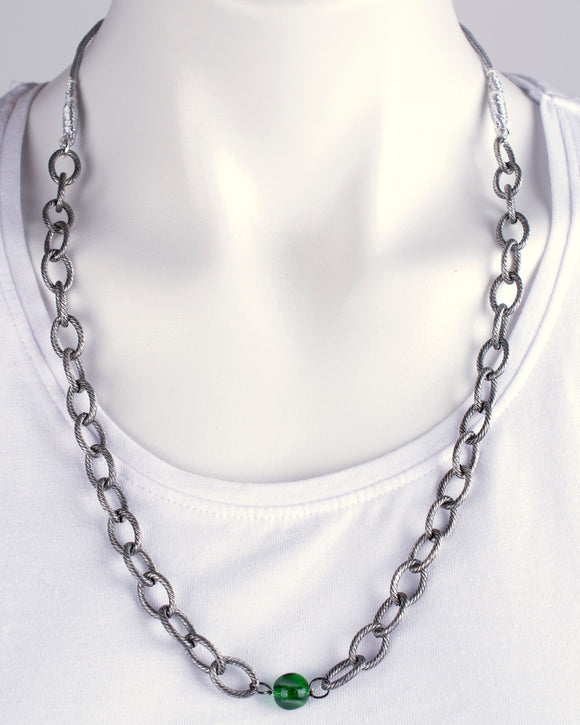 Silver Plated Chain & Glass Bead Necklace
