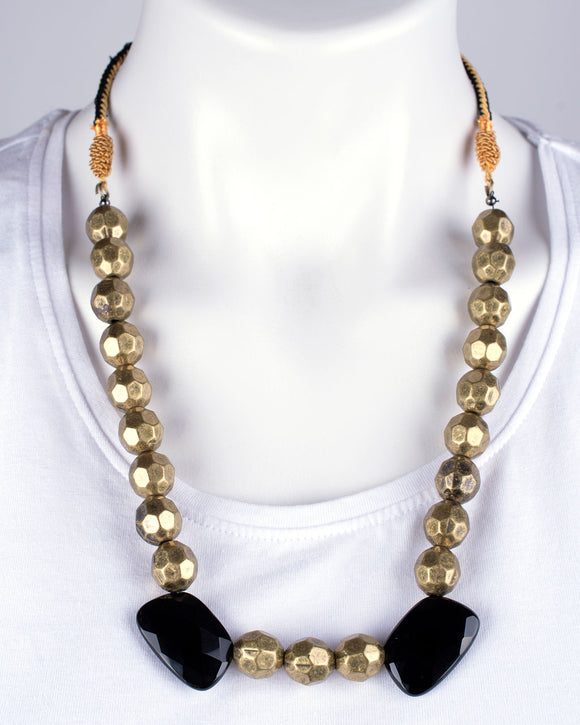 Black Onyx & Metallic Bead Necklace