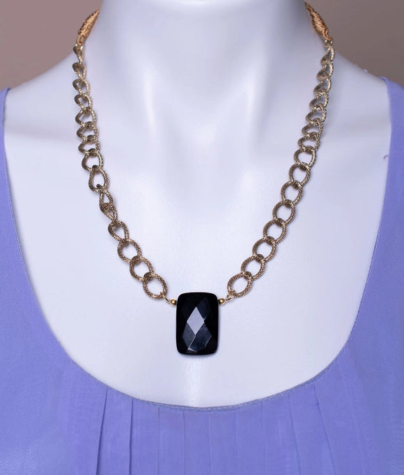 Black Onyx Stone Pendant with Gold Plated Chain