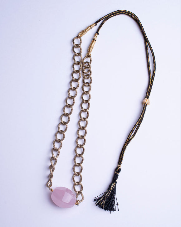 Rose Quartz Stone with Gold Plated Chain Necklace