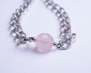 Rose Quartz Pendant Necklace with Silver Plated Chain