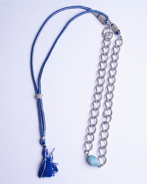 Blue Amazonite Stone Silver Plated Chain Necklace