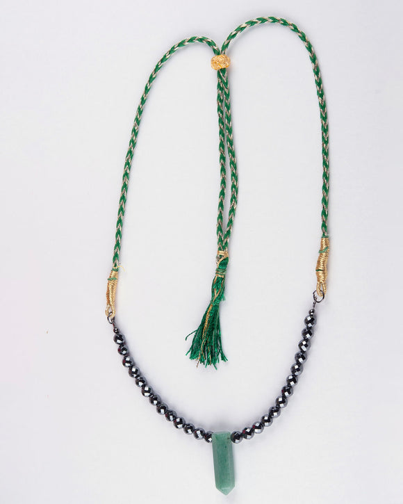Green Aventurine & Hematite Stone Necklace