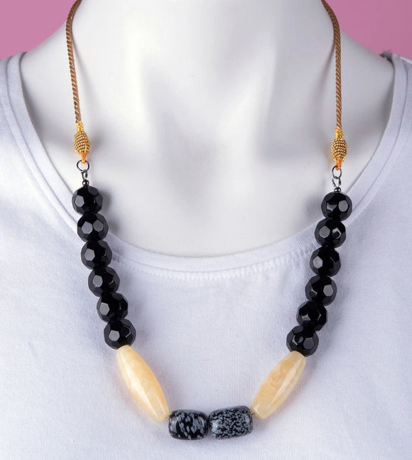 Yellow Jade & Snowflake Obsidian Stones Necklace
