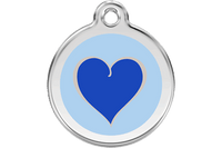 Red Dingo Enamel Tag Heart Dark Blue - Custom Dog Collars