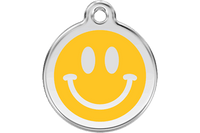 Red Dingo Enamel Tag Smiley Face Yellow