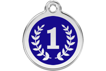 Red Dingo Enamel Tag Winner Dark Blue