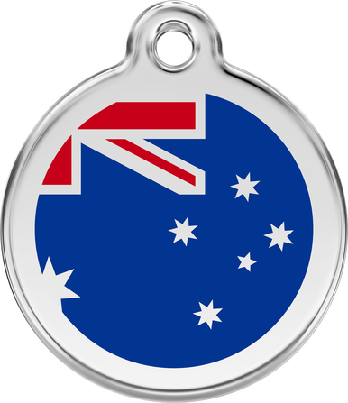 Red Dingo Enamel Tag Australian Flag Dark Blue - Custom Dog Collars