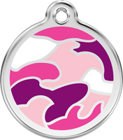 Red Dingo Enamel Tag Camouflage Pink - Custom Dog Collars