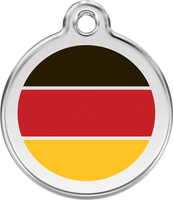Red Dingo Enamel Tag German Flag Red - Custom Dog Collars