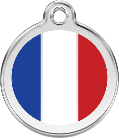 Red Dingo Enamel Tag French Flag White - Custom Dog Collars