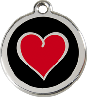 Red Dingo Enamel Tag Heart 2 **Choice of Colours** - Custom Dog Collars