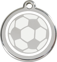 Red Dingo Enamel Tag Soccer Ball Football White