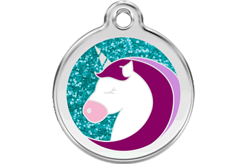 Red Dingo Glitter Enamel Tag Unicorn Aqua