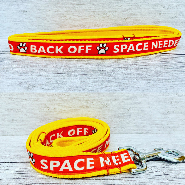 Back Off - Space Needed Dog Ribbon Lead/Leash