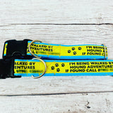 Dog Walker Personalised Collar - Call if found - Your company Colours Logo & Text - Custom Dog Collars