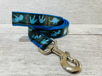 Blue Jurassic Dinosaur Skeleton Bones Dog Collar