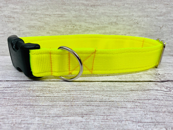 Plain Bright Yellow Hi-Viz Cushioned Webbing Dog Collar