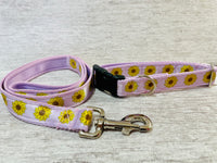 Lilac Sunflower Heads Ribbon Lead