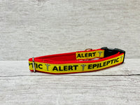 Yellow on Red Epileptic - Medical Alert Dog Collar