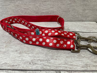Red with White Spots Dots Ribbon Lead