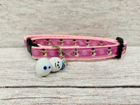 Baby Pink Christmas Snowman and Snowflake Xmas Kitten/Cat Collar
